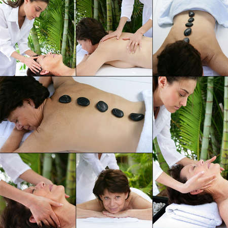 Collage of a woman at the spa photo