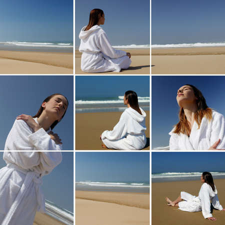 regenerate: a woman in bathrobe on the beach