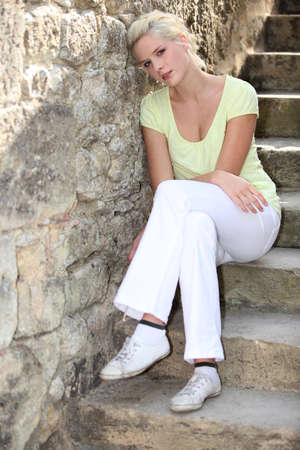 hot pants: sitting on steps