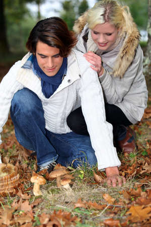 blonde haired: young couple in forest picking mushrooms