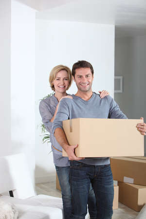 new home: Couple in new home Stock Photo