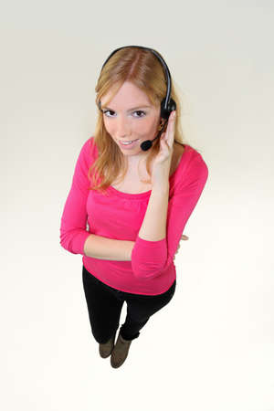 Girl with headphones and microphone Stock Photo - 12217914