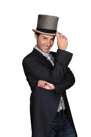 magic hat: man wearing a top hat Stock Photo