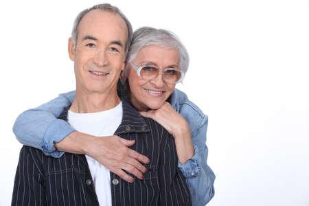 Older couple hugging Archivio Fotografico