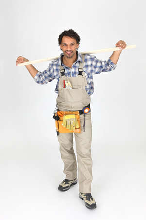 tools belt: Handyman wearing a toolbelt