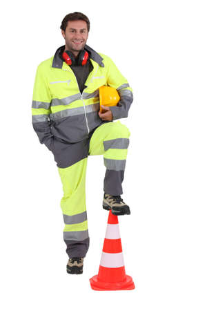 construction worker with cone photo