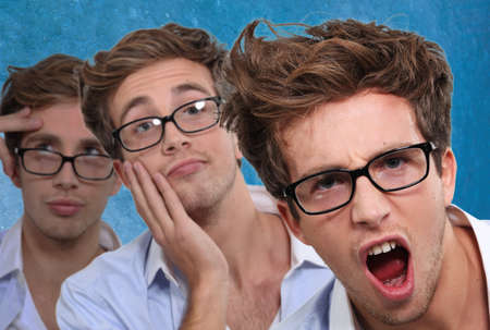 bedhead: shots of young man with glasses