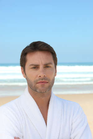 bath gown: Man by the sea