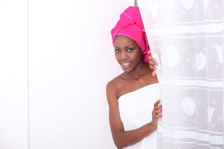 african american spa: Woman in the shower
