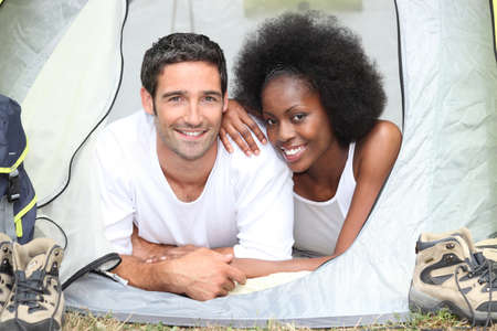 couple camping together photo