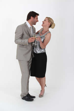 man 40 50: Couple with a glass of champagne Stock Photo