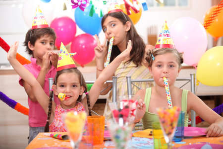 children at birthday party photo