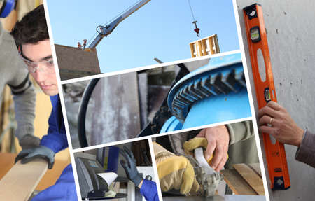 Construction collage with closeup details of carpentry Stock Photo - 12219245