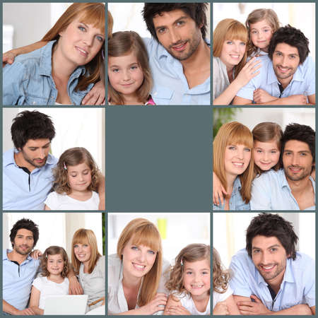 Mosaic of family at home photo