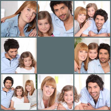 Mosaic of family at home photo