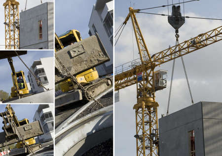 Collage of construction machinery photo