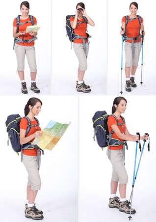 knapsack: a woman with a sportive knapsack