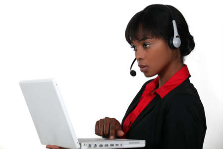 An African American businesswoman at work. photo