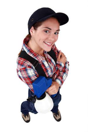 A female painter with a spray gun. Stock Photo - 12218896