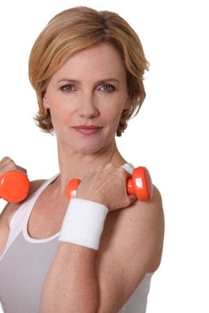 hair band: Woman with weights Stock Photo