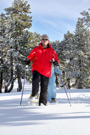 50 to 55 years old: Elderly couple skiing Stock Photo