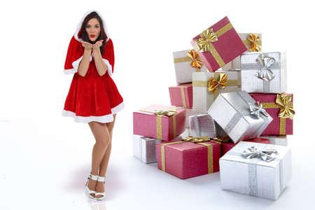foxy brune habillée en tant que mère Noël Banque d'images - 12219019