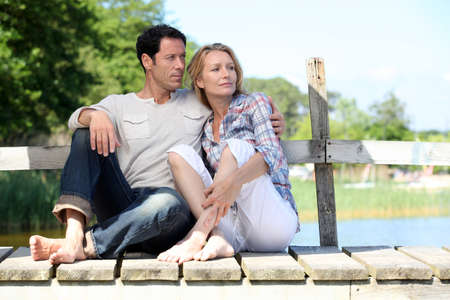 couple on pontoon photo