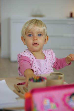 baby girl drawing Stock Photo - 12218863