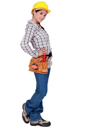 civil engineer: Profile of female builder Stock Photo
