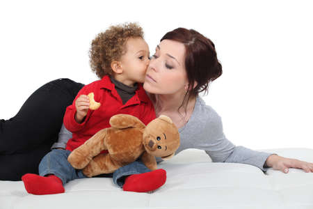 Young woman and adorable little boy photo