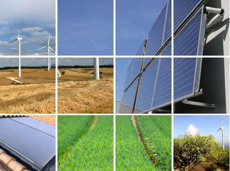 regenerative energie: Collage der nachhaltigen Energie Lizenzfreie Bilder