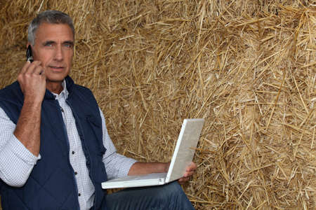 stock breeding: mature farmer on the phone with laptop against hay background Stock Photo