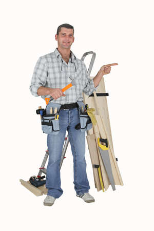 Carpenter on white background Stock Photo - 12246241