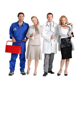 Mechanic, receptionist, doctor and hairdresser. photo