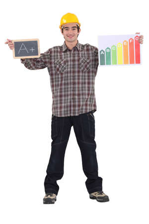 Man stood with chalk board and energy rating poster photo