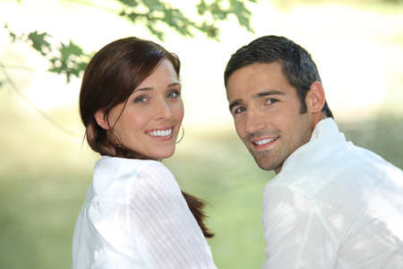 brown clothes: Couple outside Stock Photo
