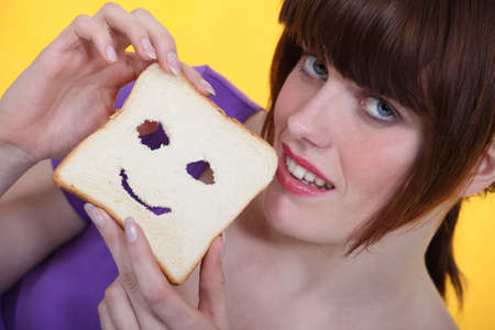 Smiling slice of bread. photo