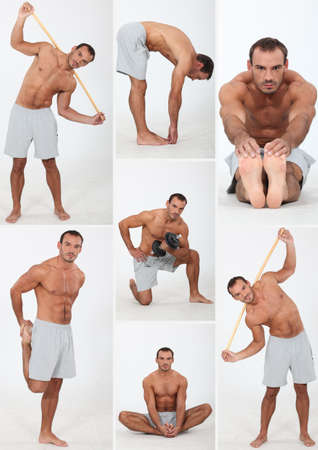 bare chested: muscular man doing stretching and fitness