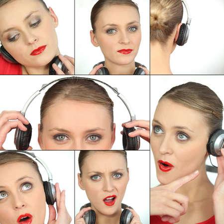 blonde woman listening music photo