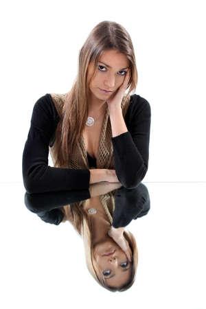 Woman sat thinking photo