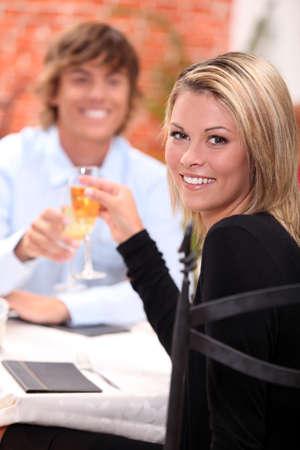 portrait of a couple at restaurant