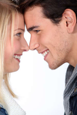 Couple with noses together
