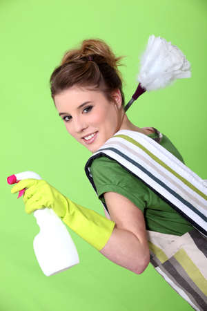 Foxy young cleaner photo