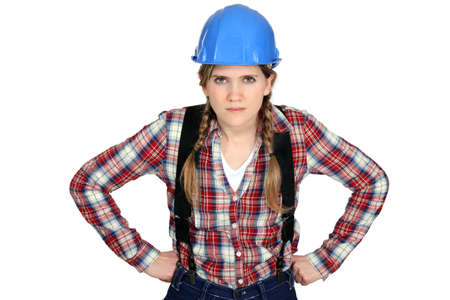 craftswoman: craftswoman looking angry Stock Photo