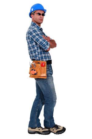 Confident entrepreneur standing on white background Stock Photo - 12246196
