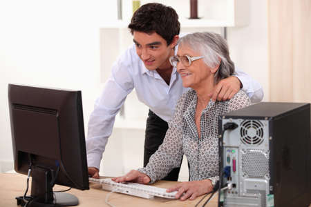 portrait of a young man and older woman Stock Photo - 12249763