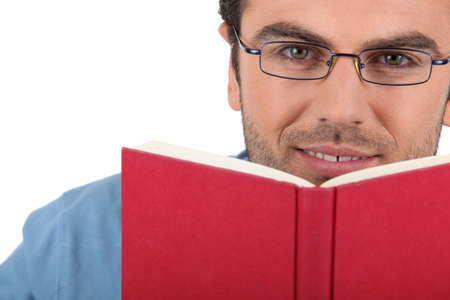 engrossed: Man reading a book Stock Photo