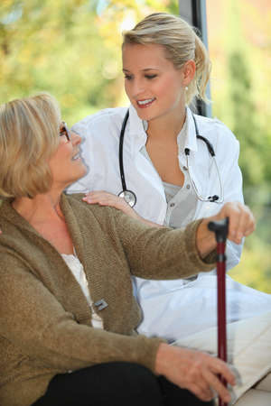 home care nurse: Elderly woman in a home