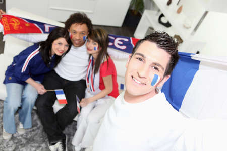 nationalists: A group of friends supporting the French football team