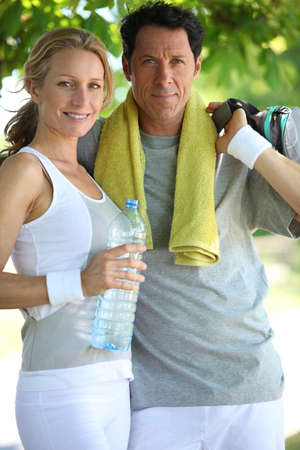 woman and man in sports clothes Stock Photo - 12250397
